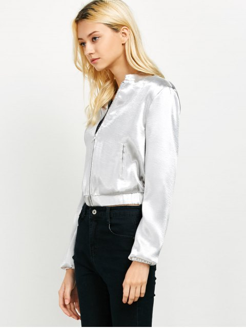 sale Metallic Color Cropped Bomber Jacket - SILVER S Mobile