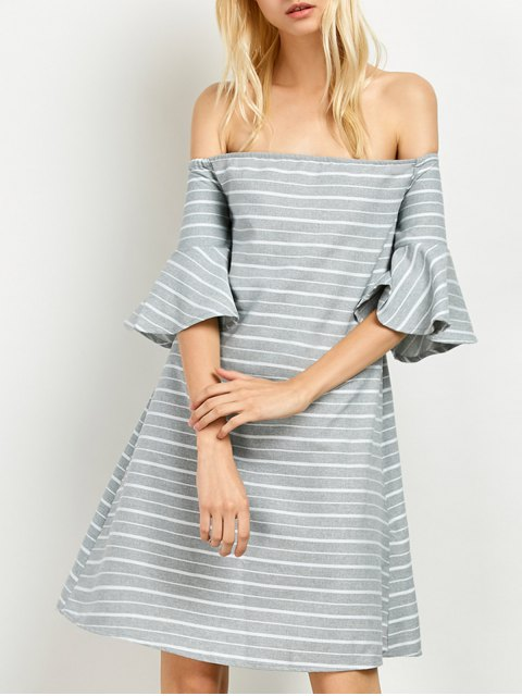 womens Frilled Sleeve Striped Off The Shoulder Dress - GREY AND WHITE L Mobile