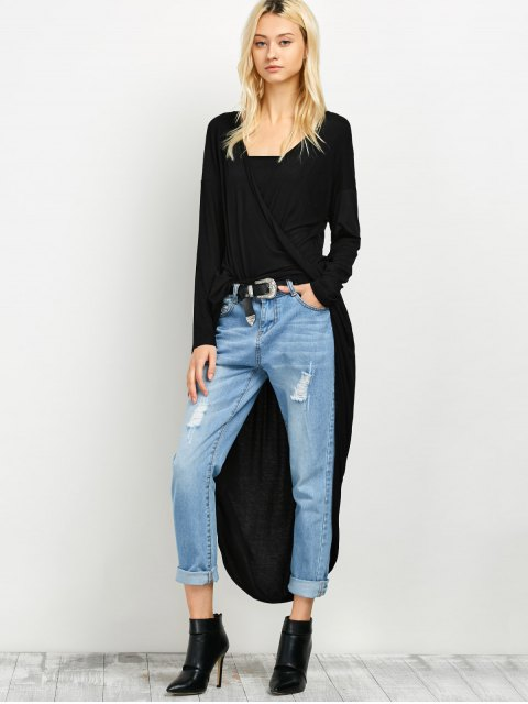outfits Twist Front High Low Top - BLACK M Mobile