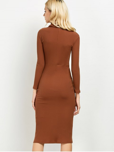 lady Turtleneck Ribbed Knit Midi Bodycon Dress - BROWN ONE SIZE Mobile