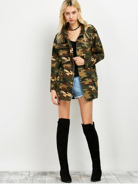 ladies Buttoned Camouflage Jacket - ARMY GREEN M Mobile
