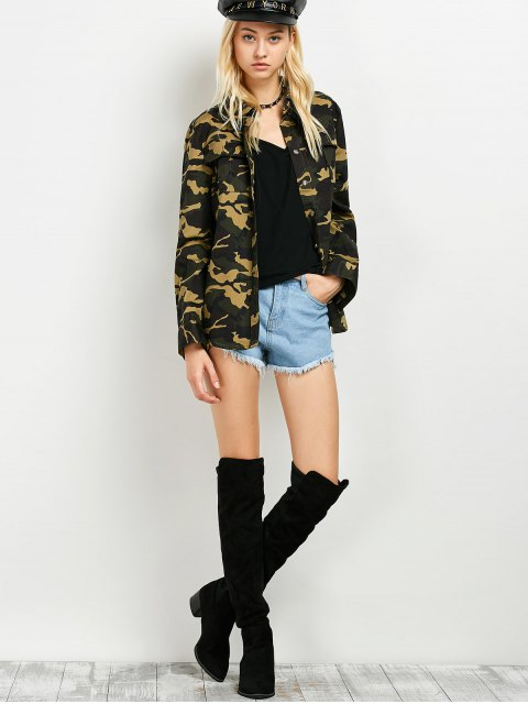 lady Pocket Camo Jacket - ARMY GREEN S Mobile