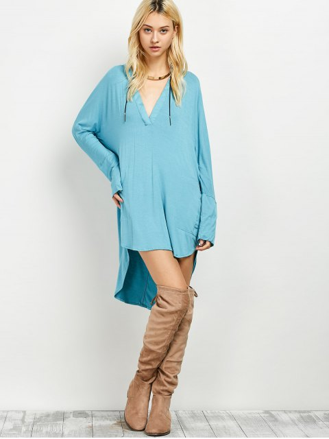 sale Loose High-Low Dress - LAKE BLUE L Mobile