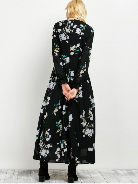 shops Long Sleeve Maxi Floral Dress - BLACK M Mobile
