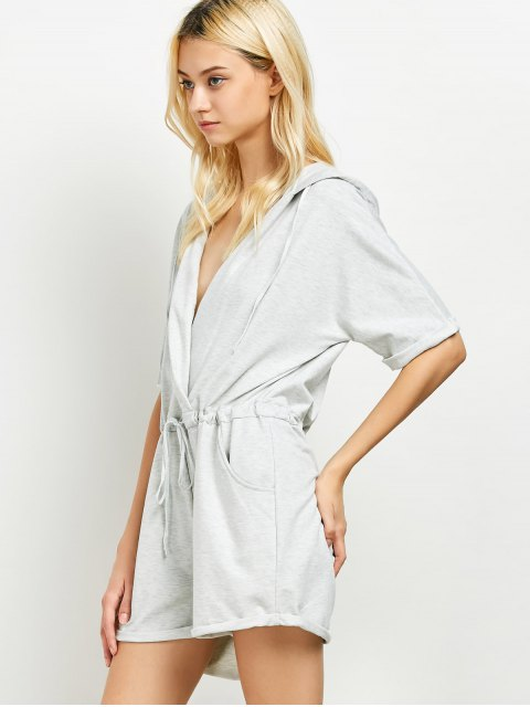 womens Rolled Cuffs Hooded Romper - GRAY L Mobile