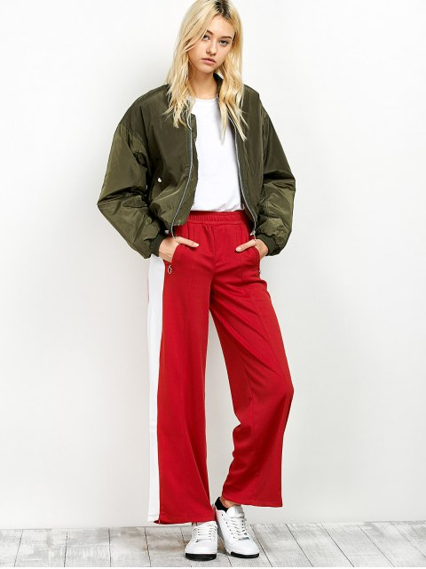 chic Side Band Wide Leg Pants - RED L Mobile