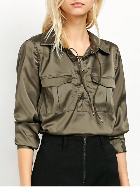 outfit OL Lace-Up Shirt - GREEN 2XL Mobile