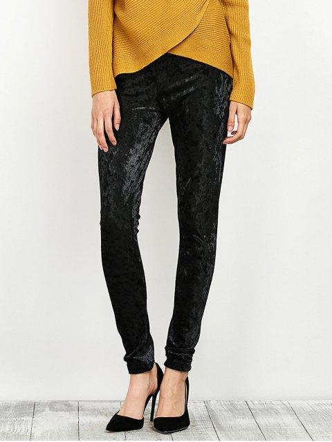 shop Stretchy Velour Narrow Feet Pants - BLACK L Mobile