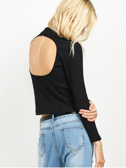 unique High Neck Cutout Back Tee - BLACK S Mobile