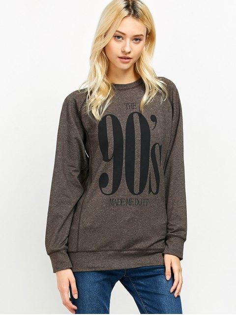 chic Raglan Sleeve Long Sweatshirt - LIGHT COFFEE XL Mobile