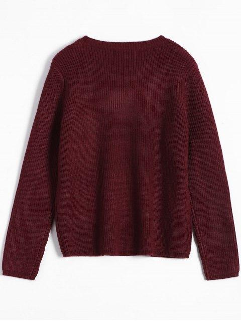 womens Bear Jacquard Sweater - BURGUNDY ONE SIZE Mobile