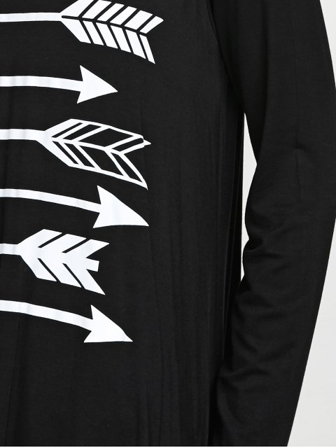 sale Long Sleeve Arrow Print Tee - BLACK XL Mobile