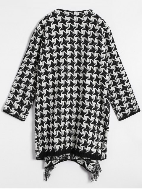 women's Drape Front Houndstooth Cardigan - WHITE AND BLACK ONE SIZE Mobile