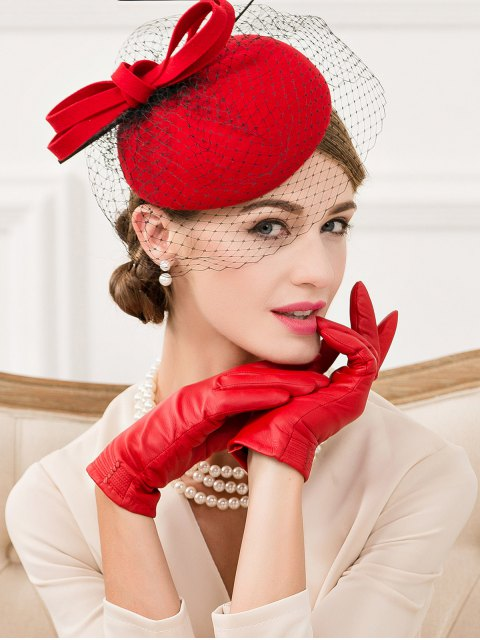 outfits Feather Bowknot Mesh Cocktail Hat -   Mobile