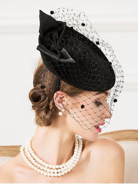 shops Mesh Yarn Bowknot Dot Cocktai Hat - BLACK  Mobile