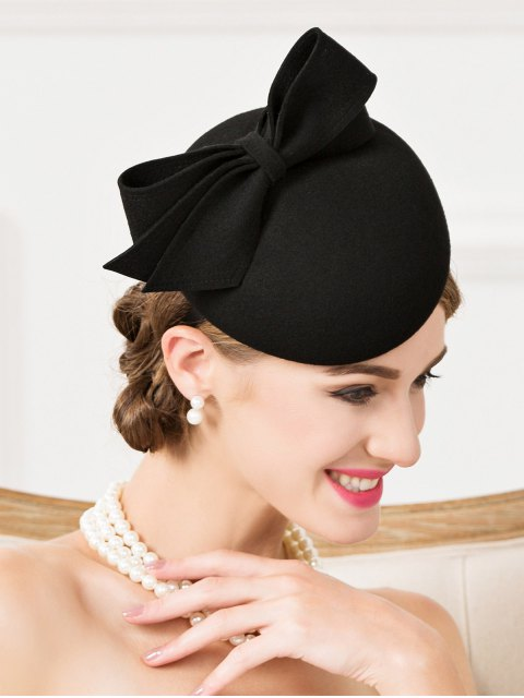 latest Outdoor Bowknot Wool Cocktail Hat -   Mobile