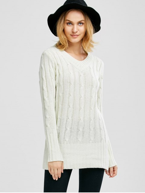 ladies V Neck Cable Knit JUmper - WHITE ONE SIZE Mobile