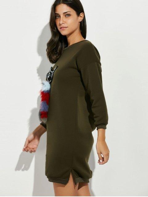 ladies Rhinestone Cartoon Cat Patch Sweatshirt Dress - ARMY GREEN ONE SIZE Mobile