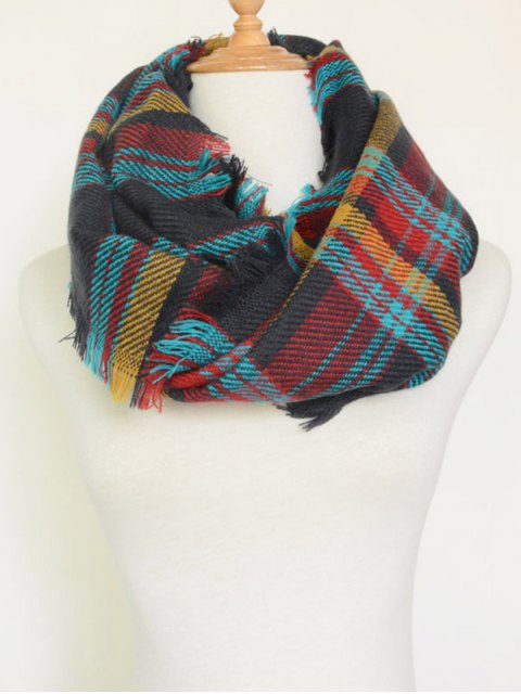 women Plaid Pattern Fringed Cowl Scarf - CADETBLUE  Mobile