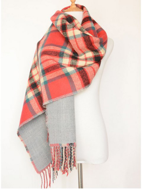 hot Dual Use Tartan Tassel Pashmina Scarf -   Mobile