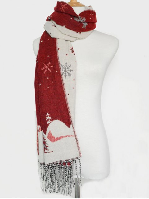 outfits Christmas Snow Covered Landscape Tassel Scarf -   Mobile