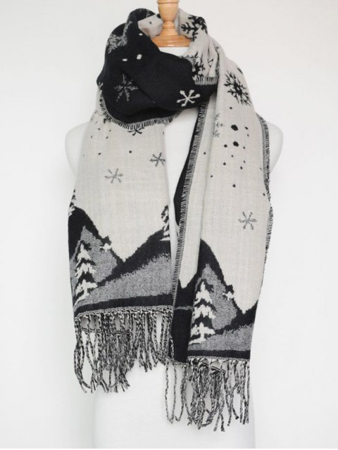 shop Christmas Snow Covered Landscape Tassel Scarf -   Mobile