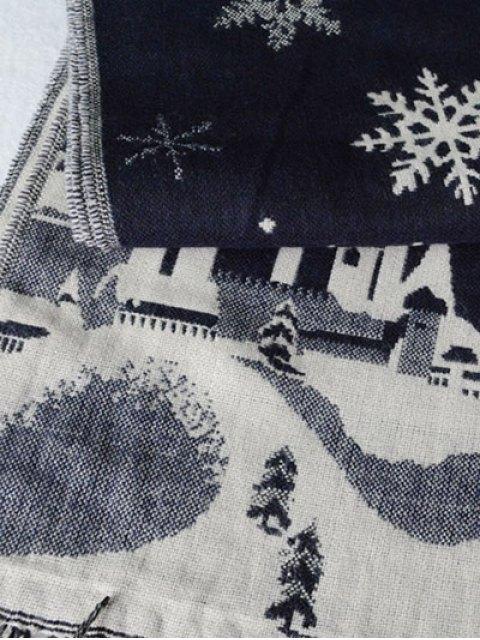 shops Christmas Snow Covered Landscape Tassel Scarf -   Mobile