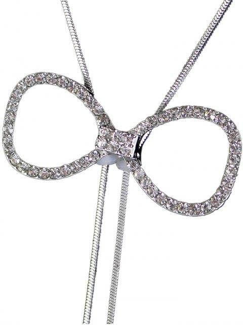 fashion Rhinestone Bowknot Faux Pearl Necklace -   Mobile