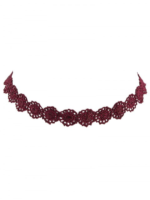 fancy Lace Hollow Out Floral Necklace - WINE RED  Mobile