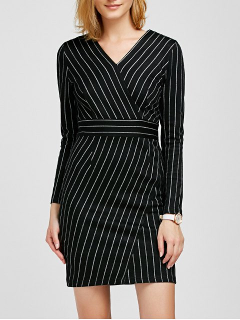 unique V Neck Long Sleeve Striped Bodycon Dress - BLACK S Mobile