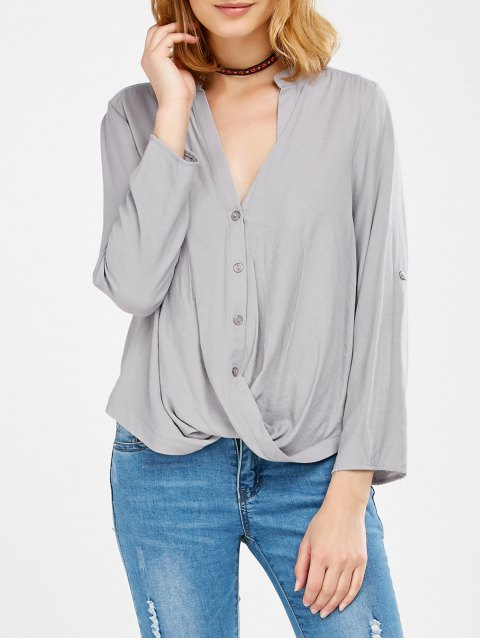 outfit Oversized Asymmetrical Blouse - GRAY XL Mobile