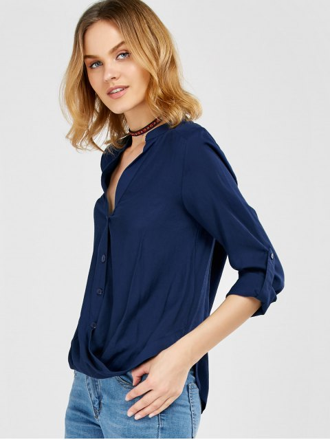 trendy Oversized Asymmetrical Blouse - PURPLISH BLUE L Mobile