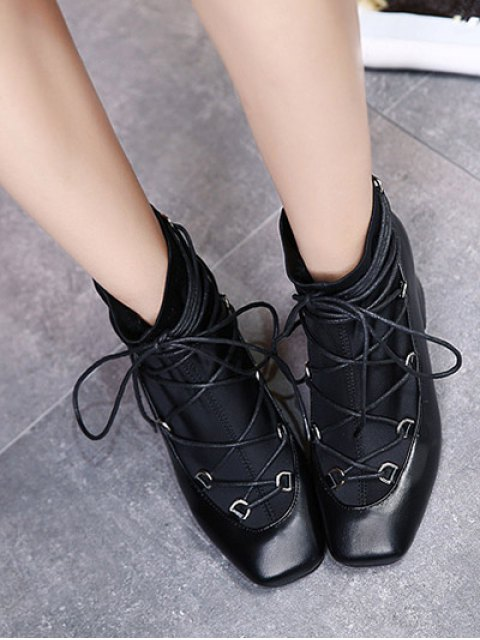 buy Lace Up PU Leather Panel Ankle Boots - BLACK 39 Mobile