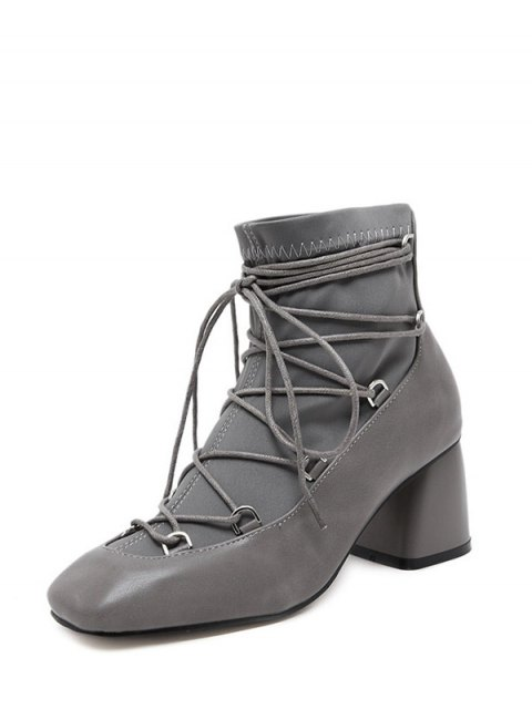 women's Lace Up PU Leather Panel Ankle Boots - GRAY 39 Mobile