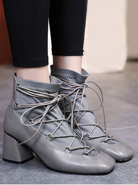 ladies Lace Up PU Leather Panel Ankle Boots - GRAY 37 Mobile