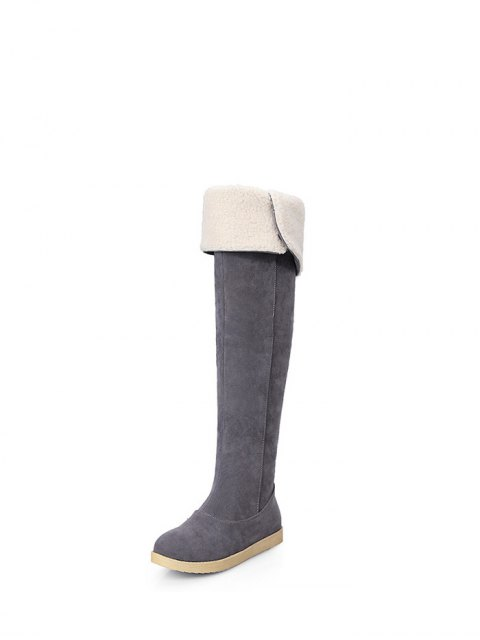 outfits Buckle Strap Flat Heel Thigh Boots - GRAY 37 Mobile
