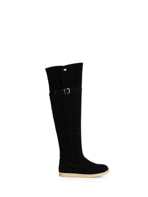 latest Buckle Strap Flat Heel Thigh Boots - BLACK 37 Mobile