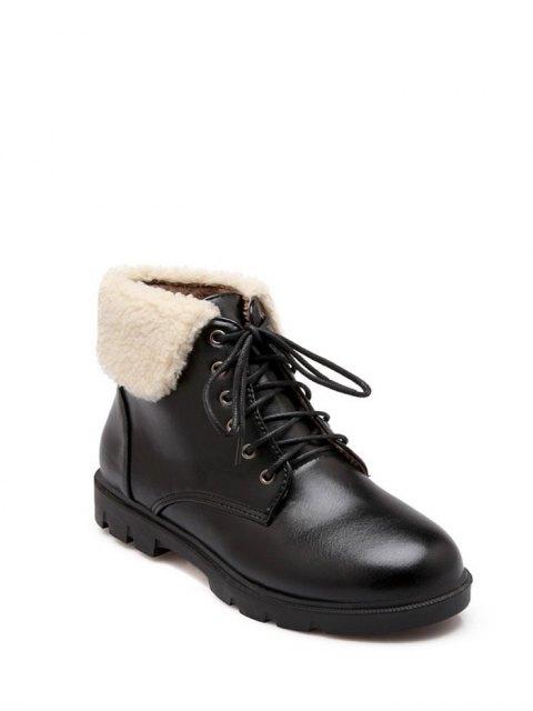 unique Lace Up Faux Shearling Insert Short Boots - BLACK 39 Mobile