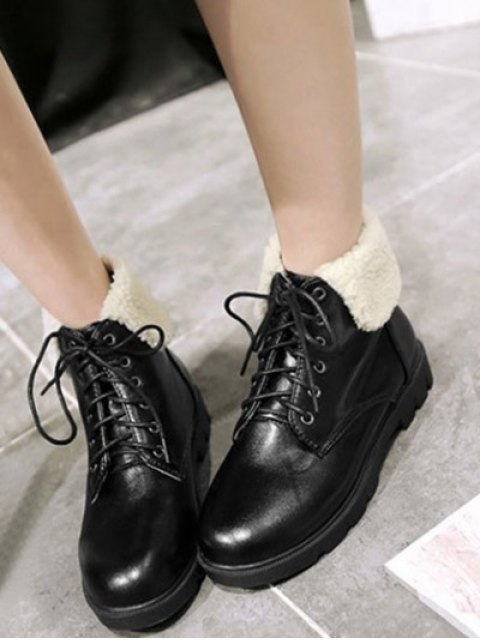 sale Lace Up Faux Shearling Insert Short Boots - BLACK 37 Mobile