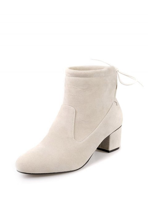 latest Chunky Heel Suede Short Boots - OFF-WHITE 38 Mobile
