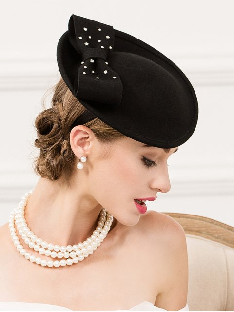 online Rhinestone Wool Felt Cocktail Hat -   Mobile