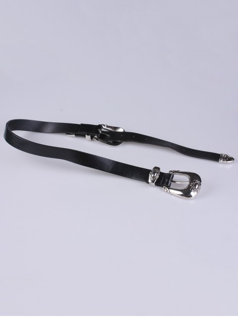 chic Double Carved Buckles PU Belt - BLACK  Mobile