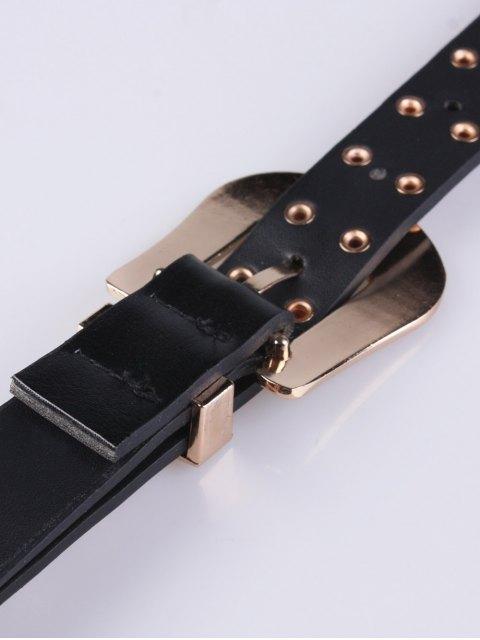 unique Double Buckle Rivet PU Belt -   Mobile