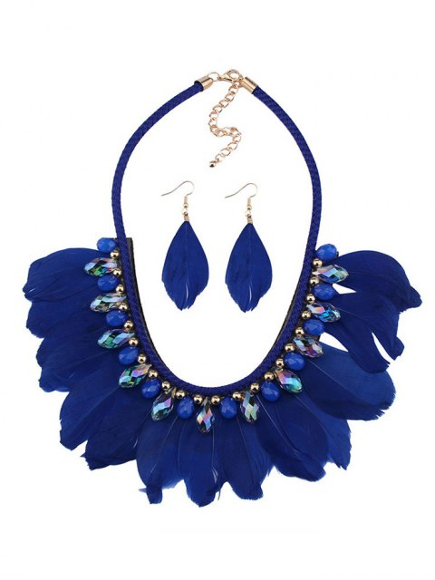 women Artificial Gemstone Feather Necklace and Earrings -   Mobile