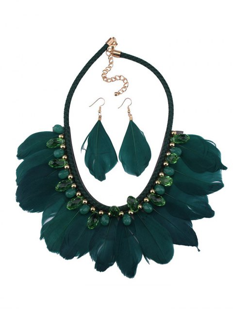 women's Artificial Gemstone Feather Necklace and Earrings - GREEN  Mobile