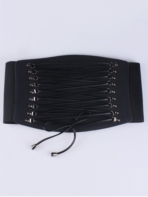 buy Criss Cross Elastic Corset Belt - BLACK  Mobile