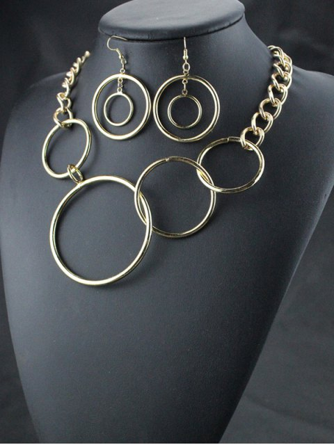 lady Circles Necklace with Earrings - GOLDEN  Mobile