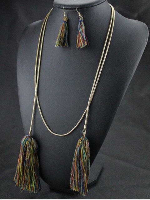 new Tassel Necklace Drop Earrings and Bracelet - COLORMIX  Mobile