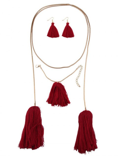 hot Tassel Necklace Drop Earrings and Bracelet - RED  Mobile