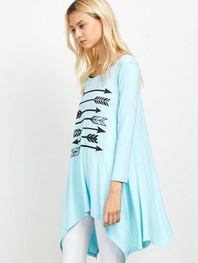 Long Sleeve Arrow Print Tee - LIGHT BLUE M Mobile